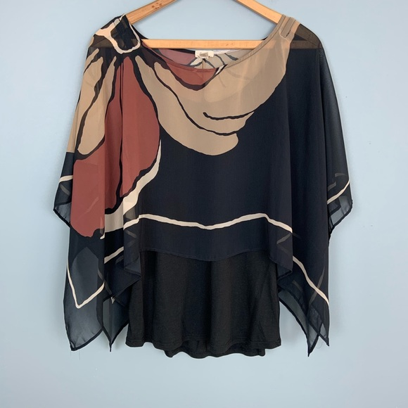 Anthropologie Tops - Anthro Tiny Brown and Black Floral Layered Blouse